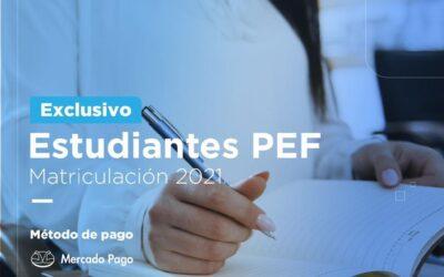 Estudiantes PEF   Pago Matriculación 2021